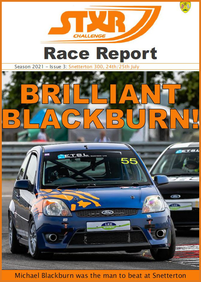 Cover of the race report for the Snetterton meeting which took place on 24th/25th July 2021. The cover photo is of Mlchael Blackburn who was than man to beat this weekend